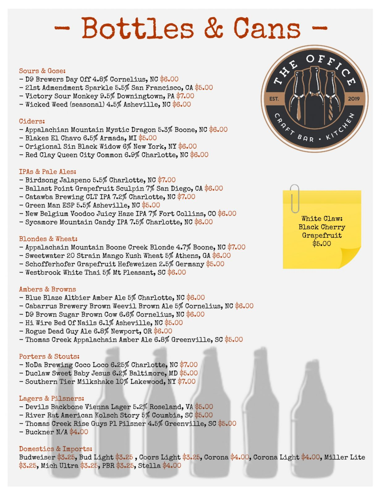 Bottles and cans menu